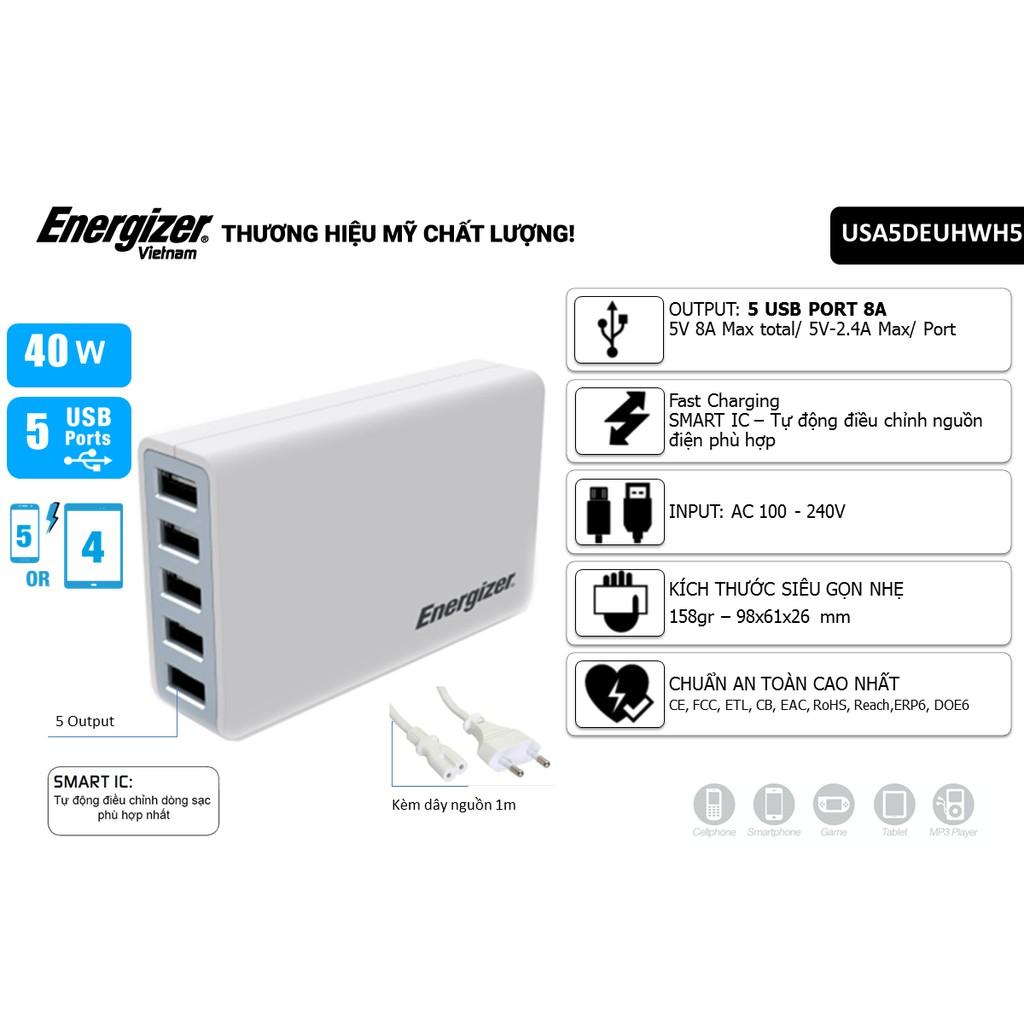 Củ Sạc Sạc 8A 40W Energizer HT 5 USB - USA5DE
