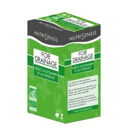 Trà hữu cơ thảo dược giúp tiêu hóa thanh lọc gan Mix Foie Depurative Drainant Nutrisensis hộp 20 gói
