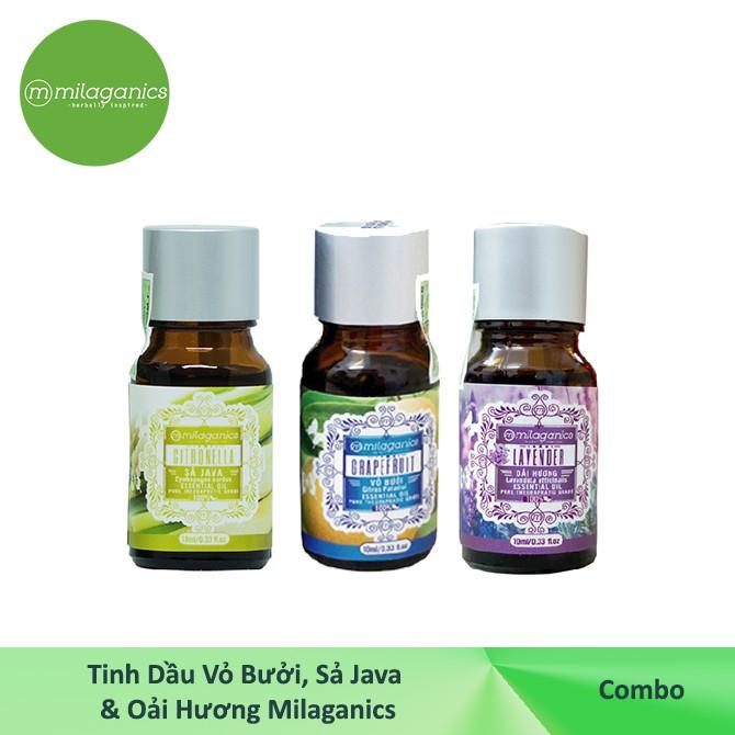[COMBO9]-Tinh dầu Vỏ Bưởi MILAGANICS 10ml + Tinh dầu Sả Java MILAGANICS 10ml + Tinh dầu Oải Hương MI