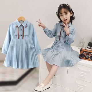Váy màu trơn tay dài đáng yêu dành cho bé gái 2-10 tuổi