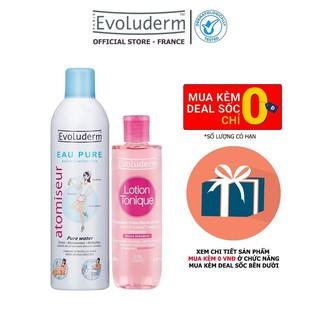 Bộ Xit khoáng Evoluderm Atomiseur Eau Pure 400ml và Nước hoa hồng Evoluderm cho da nhạy cảm 250ml