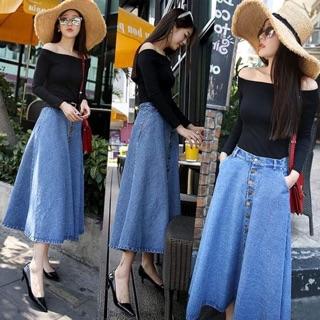 Chân váy jeans dài chất đẹp sale size L, XL, 2XL chat shop