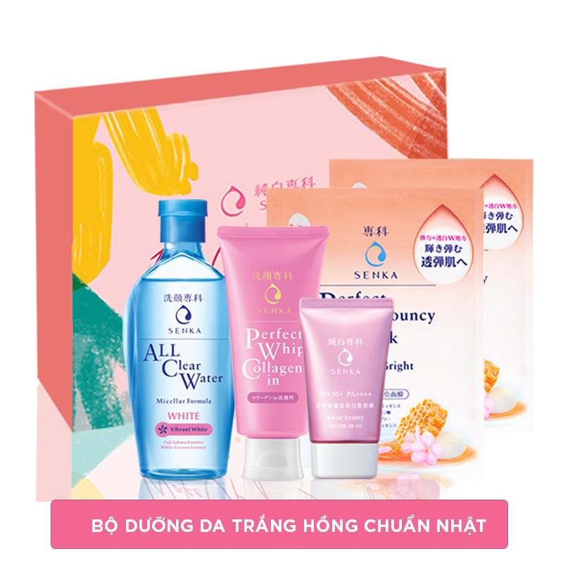 Bộ sản phẩm Senka trắng hồng chuẩn Nhật (SRM Collagen 120g, CN Serum CC 40g, All Clear Water 230ml, Mask 25ml)_95105