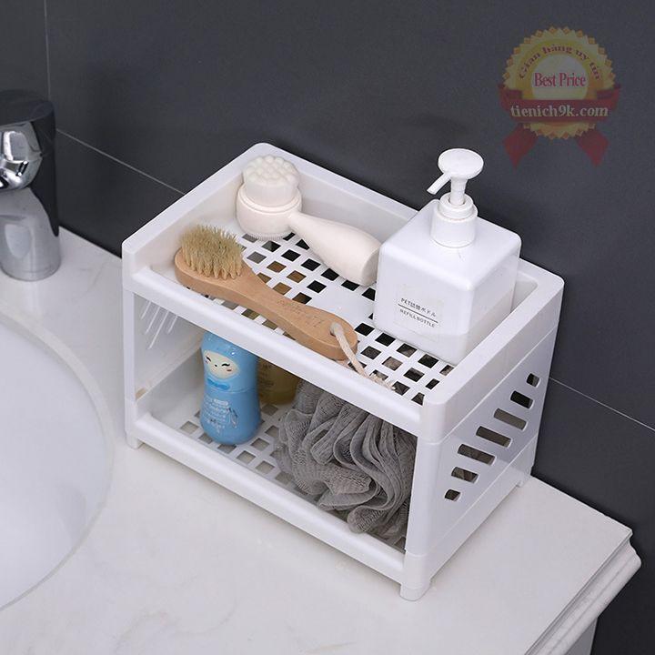Kệ để đồ đa năng 2 tầng ING đựng đồ trang điểm nhà tắm bếp để đồ dùng học tập