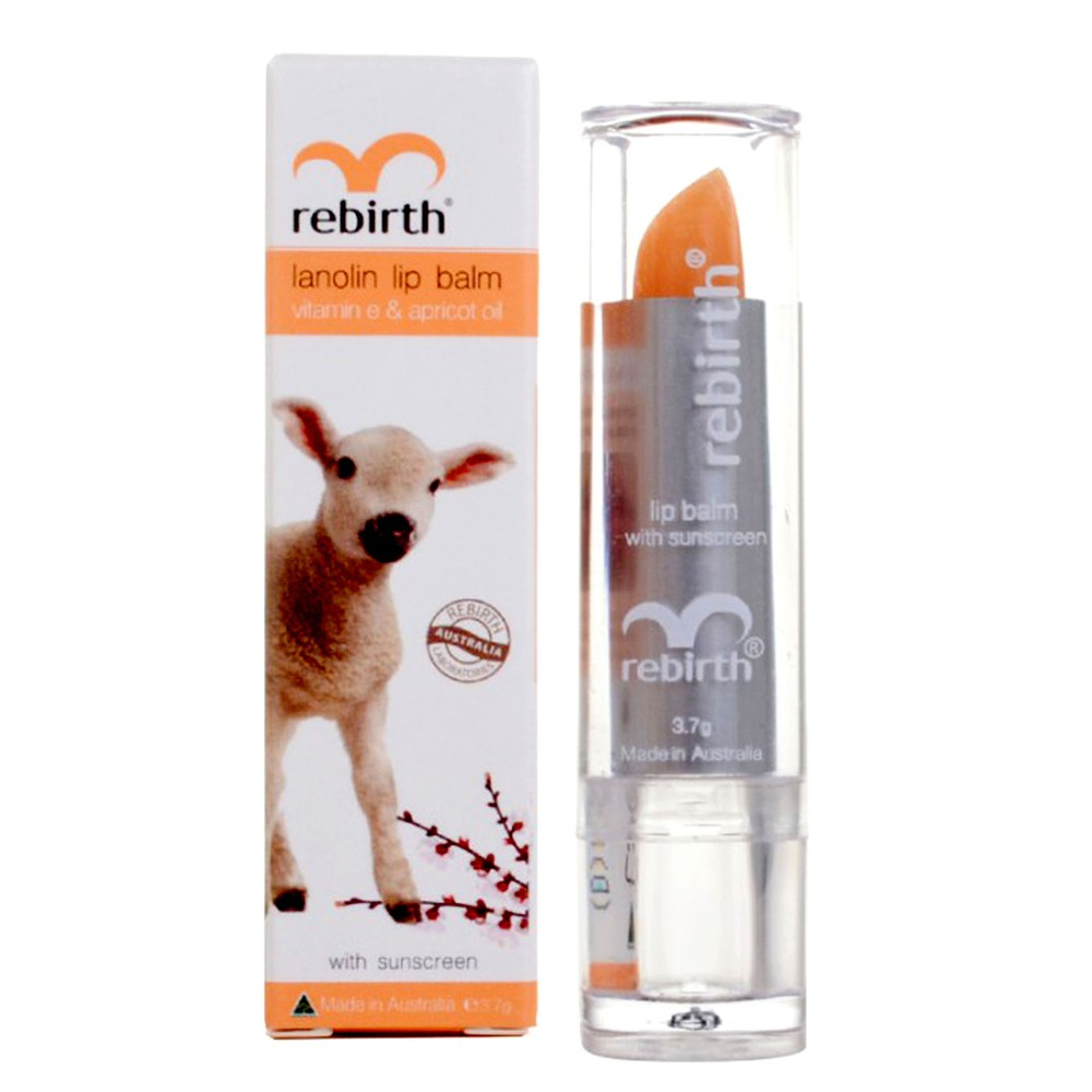 Son dưỡng môi nhau thai cừu Rebirth Lanolin Lip Balm with Vitamin E & Apricot Oil RB14