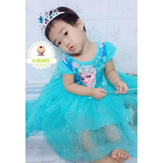 Váy Elsa Có Tà Dài, Đính Kim Tuyến Hàng Quảng Châu Cao Cấp