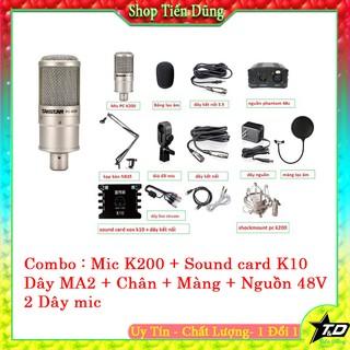 COMBO MIC TAKSTAR PC K200 SOUND CARD K10 CHÂN ĐẾ MÀNG LỌC DÂY LIVE STREAM MA2