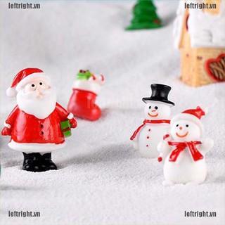 LEFT Christmas Miniature Santa Claus Snowman Fairy Garden Decor Snow Landscape VN
