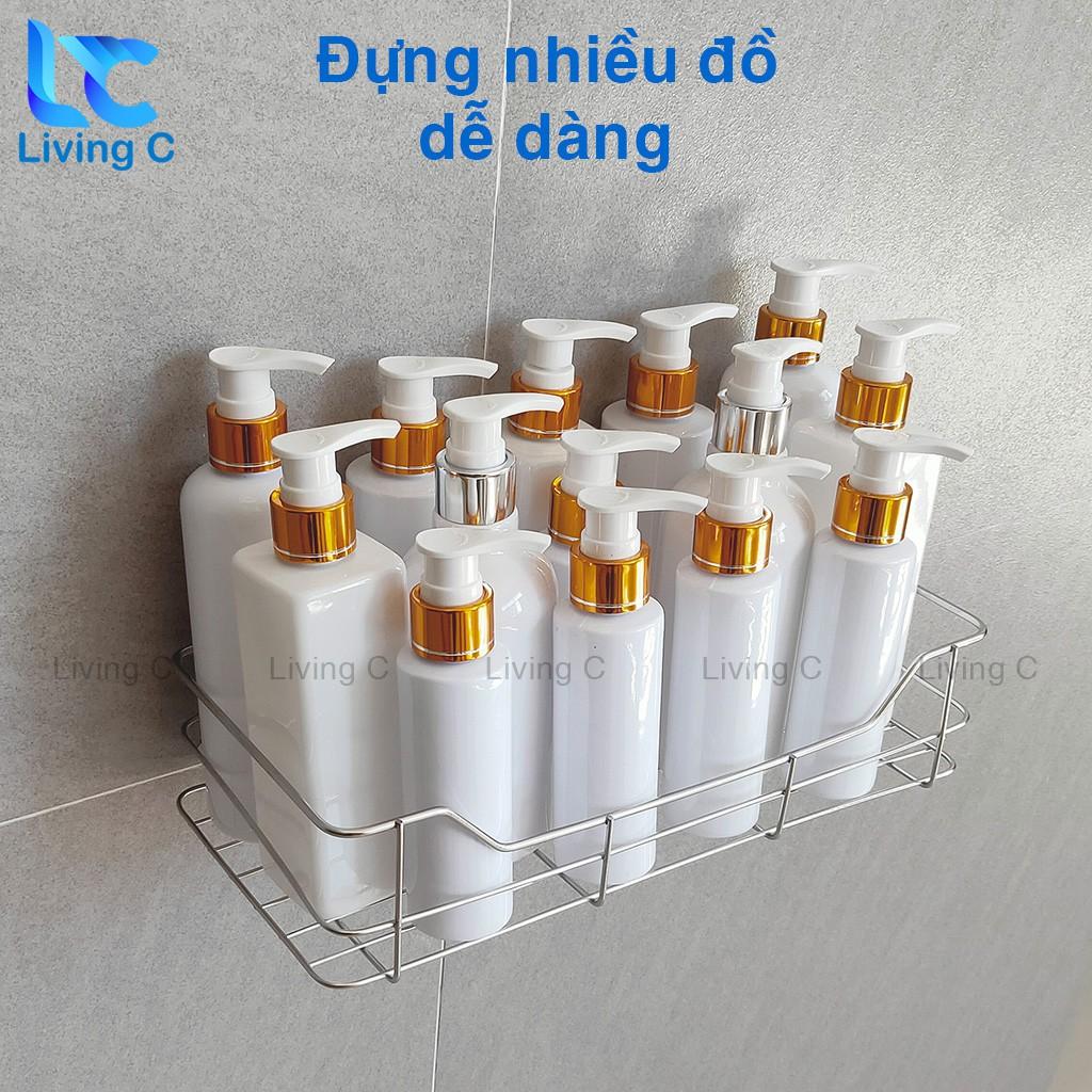 Kệ treo tường chữ nhật Living C, giá kệ đựng mỹ phẩm gia vị dán tường chịu lực đa năng bằng INOX 201 _CN1