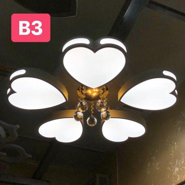Đèn Ốp Trần Trang Trí - Đèn Trần Trang Trí Phòng Khách Gồm 3 Chế Độ Ánh Sáng Có Điều Khiển Từ Xa AB4