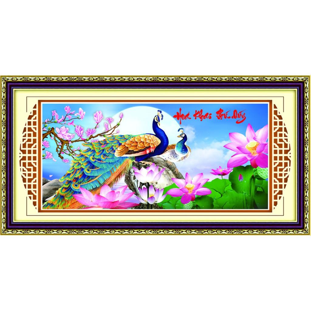 Tranh thêu chữ thập kết hạt cườm, hạt đá đuôi công Hoa Khai Phú Quý 8634ABC
