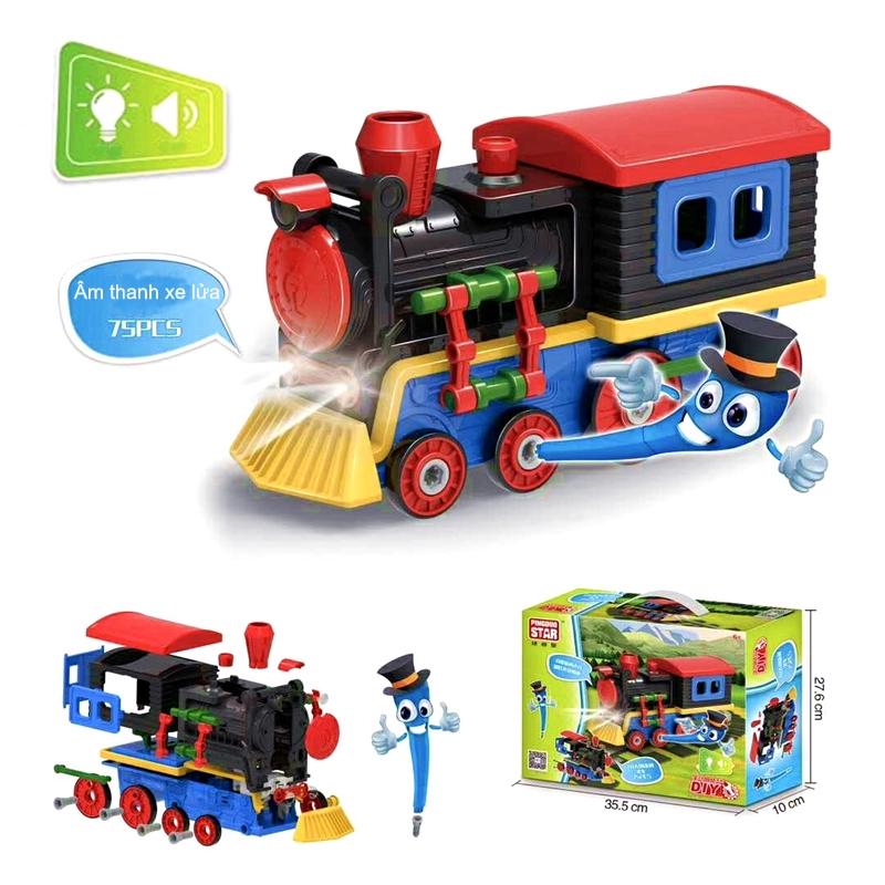 đồ chơi ghép hình lắp ráp xe lửa hiện đại có đèn và âm thanh thông minh