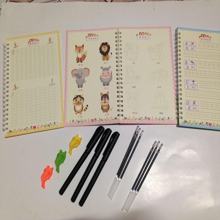 Set bộ 3 quyển tập viết, tập tô ( 3 quyển + 3 bút + 3 đệm + 6 ngòi bút ) tự xóa thông minh cho bé vừa chơi vừa học