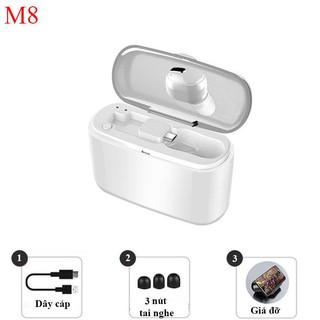 Tai nghe Bluetooth M8 tai nghe 1 bên kim hộp sạc, có thể sử dụng để sạc điện thoại hoặc làm giá đỡ điện thoại