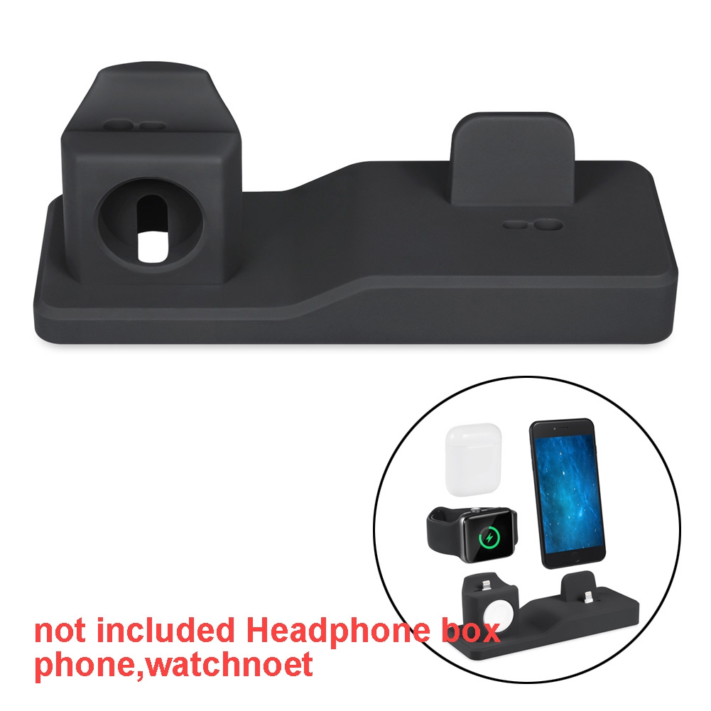 3 In 1 Holder Mounts Wireless Portable Charging Stand Station Silicone Base For Apple Watch