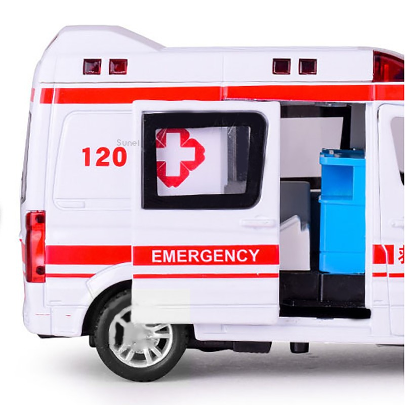 💗Sunei💗1:32 Ambulance Simulation Model Sound & Light Toys Alloy Diecast Gifts