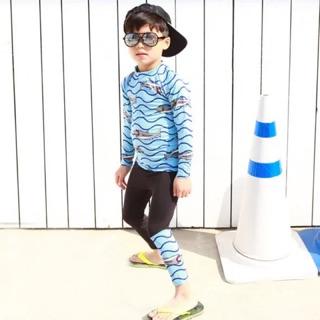 Đồ bơi tay dài quần dài bé trai cá mập xanh