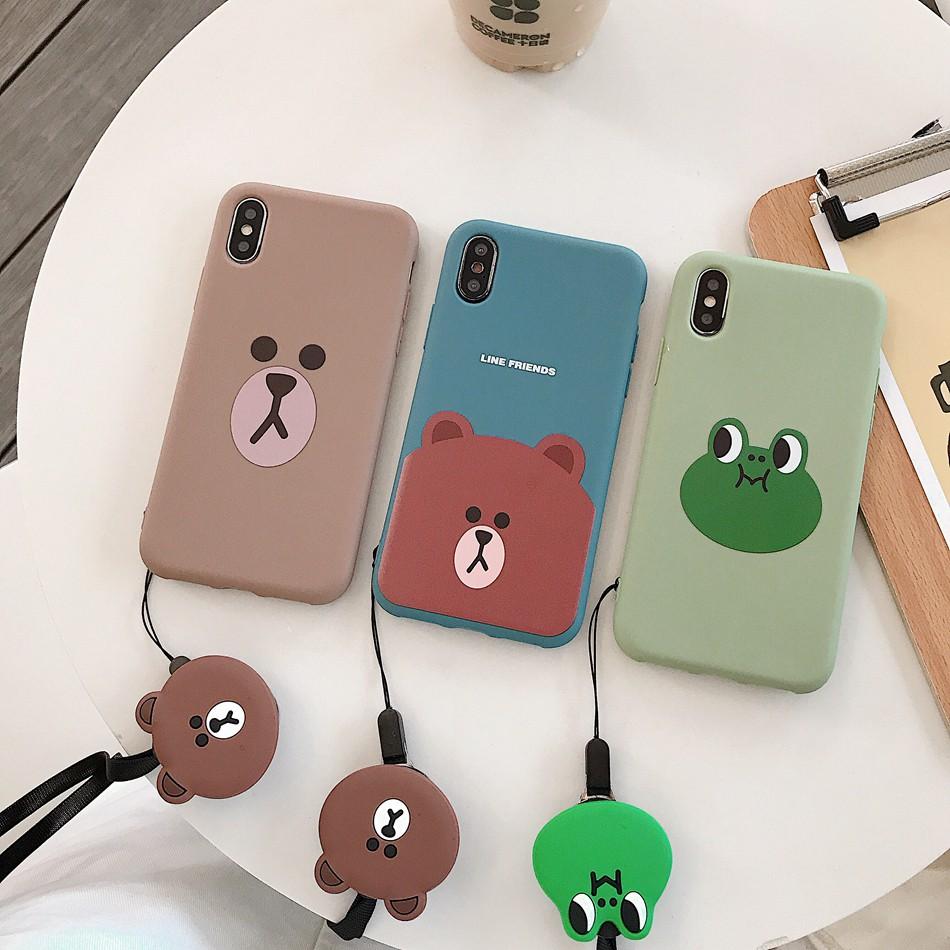 Ốp lưng nhựa họa tiết gấu/ếch hoạt hình dành cho iphone X XS MAX XR 6 6S 7 8 Plus