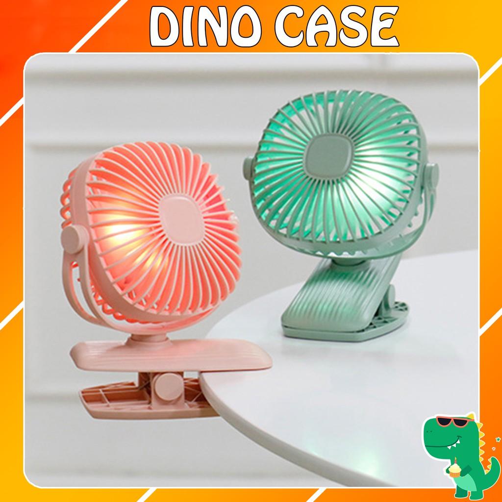 Quạt sạc mini xoay góc 720 độ, đế kẹp đa năng hoặc đặt bàn với 3 cấp độ gió có đèn led