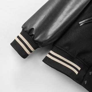Hình ảnh Áo khoác Bomber nam họa tiết trơn Felt And Leather chất ép từ Len giữ nhiệt và thoáng - FEAER DENIM-4