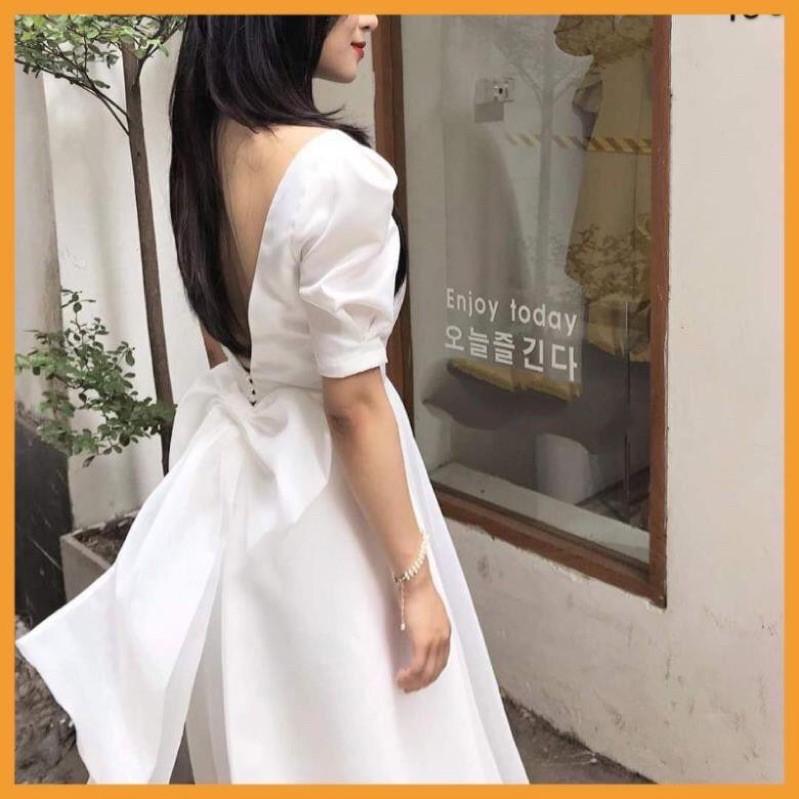 Mặc gì đẹp: Sang chảnh với Đầm dự tiệc trắng xòe nơ lưng Cindy Dress sang trọng có mút ngực