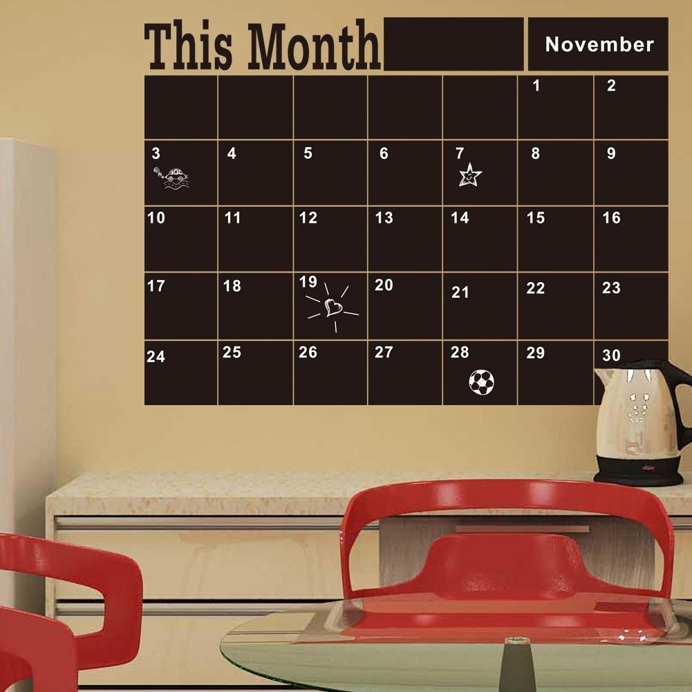 ↨COD↨ Office Chalk Board board Month Calendar Wall Sticker
