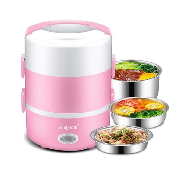 Hộp cơm cắm điện 3 tầng Yoice Y-DFH3, dung tích 2.0 lít, nấu chín, hâm nóng và giữ nhiệt cho thức ăn