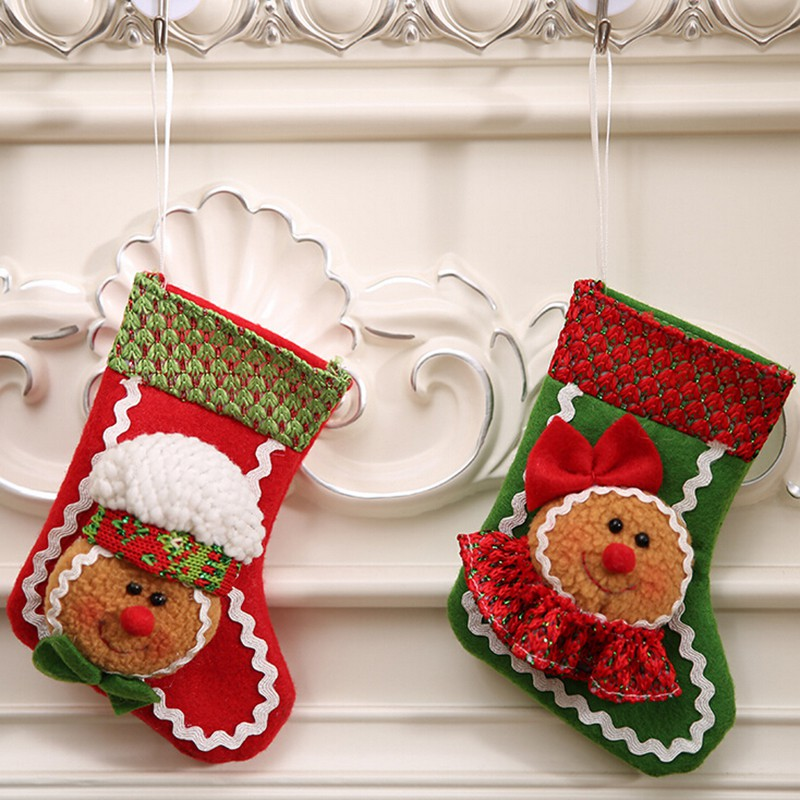 New christmas sock cute gingerbread man ornament party tree hanging decoration