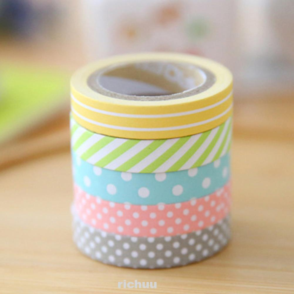 5Pcs Tearable Candy Color Cute Portable Gift Accessories Paper Tape