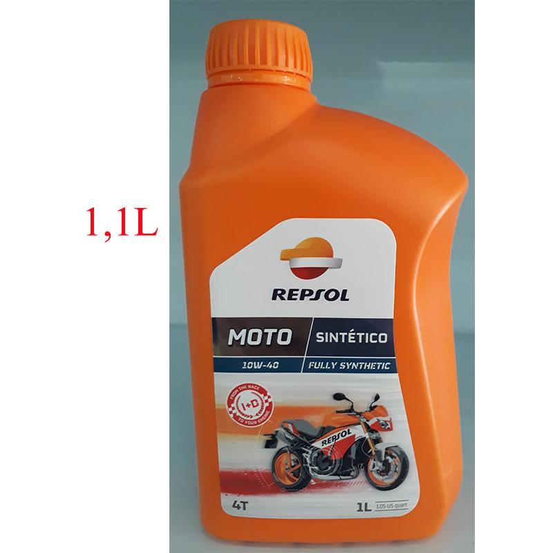 Dầu nhớt tổng hợp cao cấp xe số và xe tay côn Repsol Moto Sintetico 10W-40 1,1L