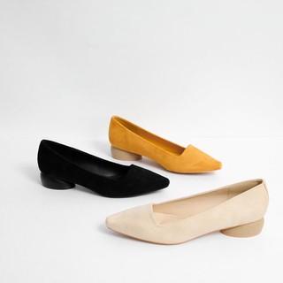 Giày cao gót da lộn gót tròn