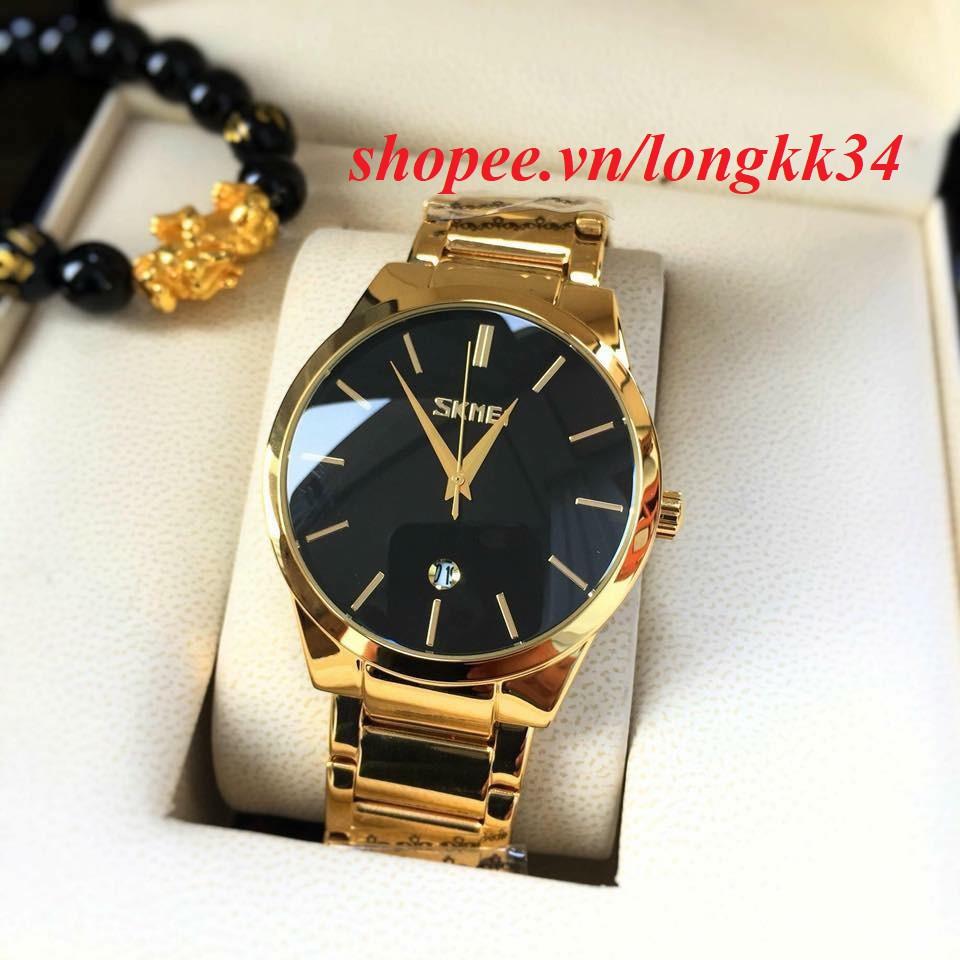 Đồng hồ Nam Skmei 9999 dây vàng mạnh mẽ phong cách trẻ trung Đồng hồ kim-điện tử