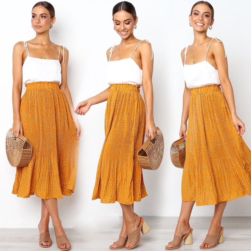 Holiday Fashion Polka Dot Spotted Pleated Floral Beach Casual Party Midi Swing Summer Women Skirt