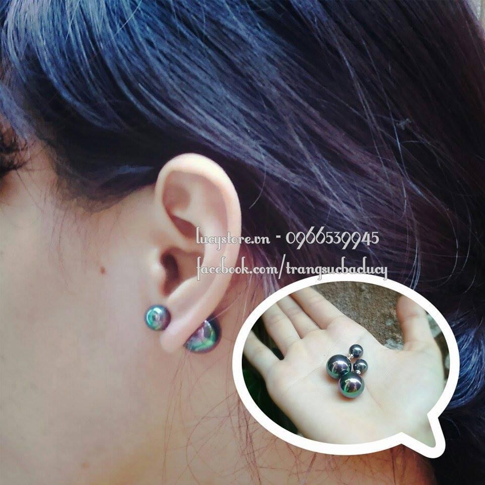 khuyên tai ngọc trai xanh - KT037