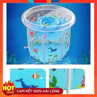 Bể bơi thành cao cho bé – Chất liệu nhựa PVC an toàn không gây độc hại. Đồ chơi vận động