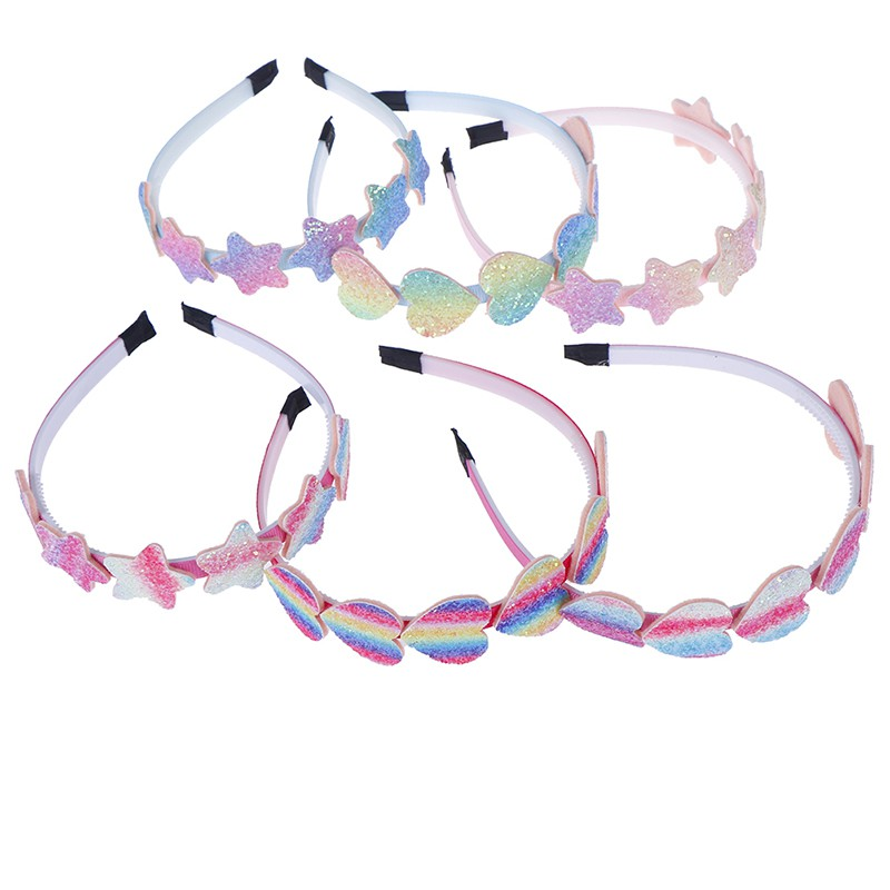 Magicalhour Smileofen i 1PC children novelty plastic hairband glitter gradient color heart star headband