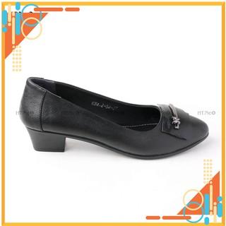 Giày công sở - giày nữ đế cao 3cm HT.NEO (4) kiểu dáng thanh lịch cùng da cừu siêu mềm, nơ da có khuy cài đính đá CS166 thumbnail