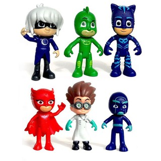 Set 6 mô hình nhân vật PJ Masks Catboy Owlette Gekko Romeo Night Ninja Luna
