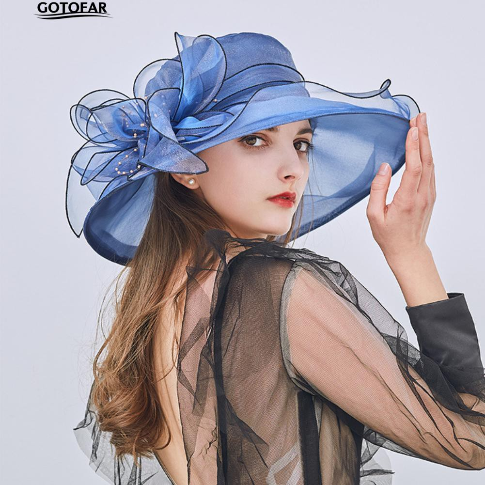 Floral Organza Wide Brim Church Lady Sun Hat
