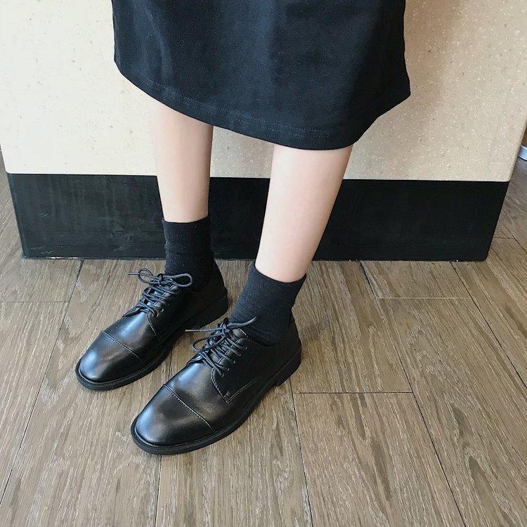 Giày Bốt Da Đế Dày Mũi Vuông Cột Dây Thời Trang Cho Nữ