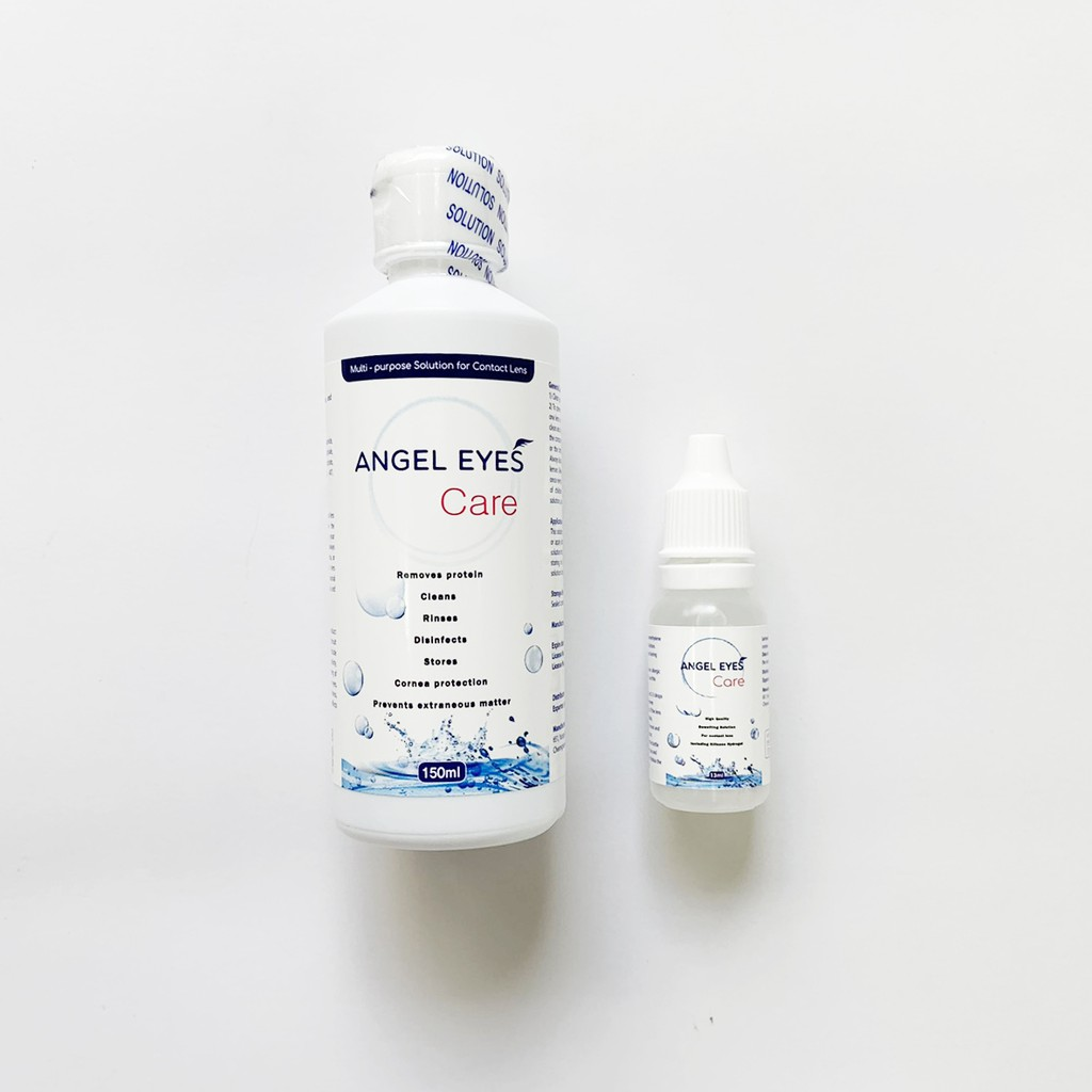 [GIÁ TỐT] COMBO Nước Ngâm Lens 150ml + Nhỏ Mắt Lens 13ml Angel Eyes Care