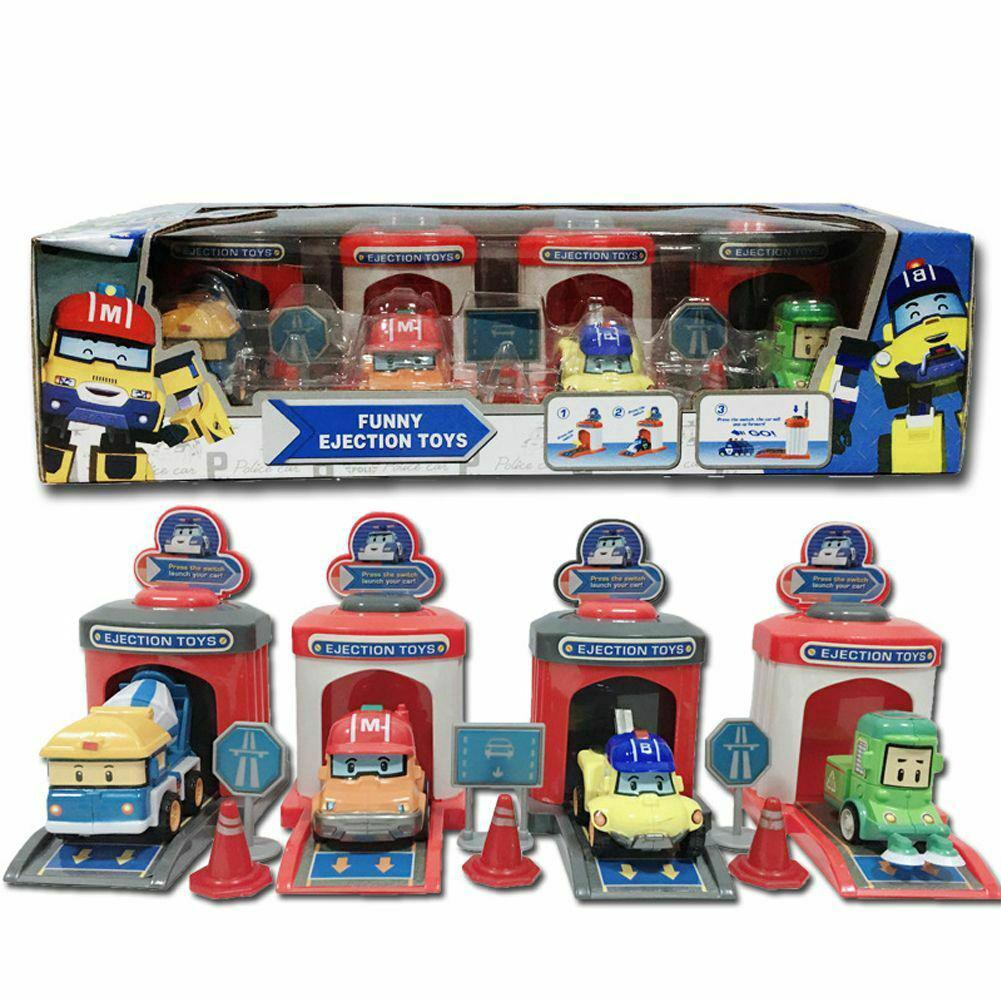 4Pcs/set Robocar Poli Ambe Roy Helly Robot Kids Educational Ejection Pull Back Shooting Toys