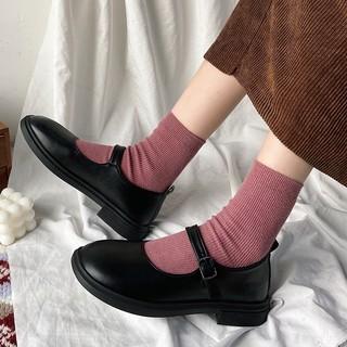 (CÓ SẴN - Đen) Giày búp bê da trơn đế bệt Marry Jane vintage