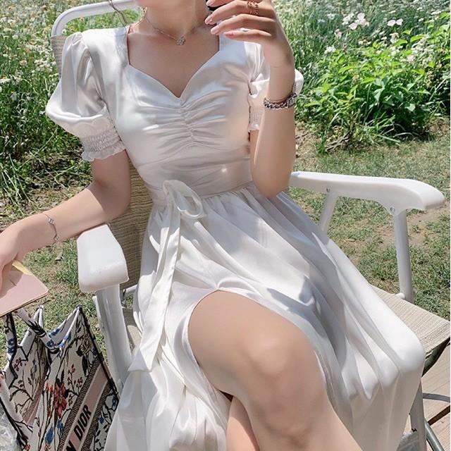 Mặc gì đẹp: Sang chảnh với Đầm Nữ Đẹp💖Đầm Dự Tiệc Thiết Kế Màu Trắng Nhún Ngực Xẻ Tà Siêu Xinh LiMi M12