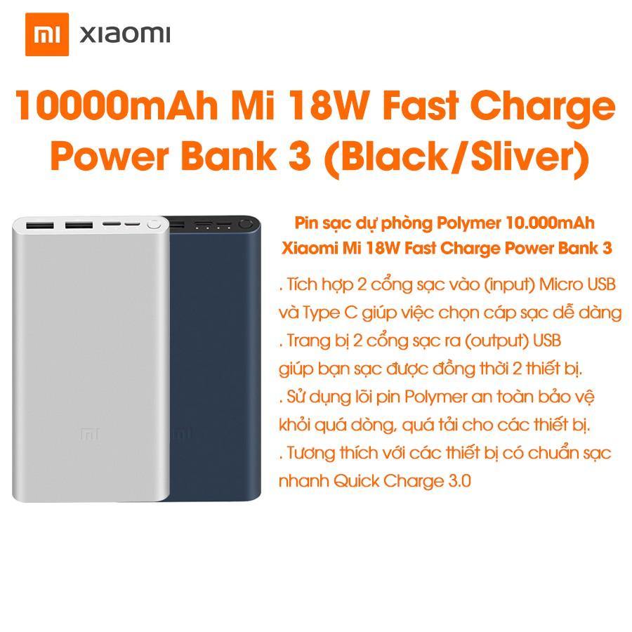 Pin sạc dự phòng Xiaomi Mi Gen 3 10000 mAh 18W - Hàng chính hãng - Bảo hành 6 tháng