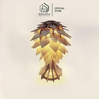 Đèn gỗ trang trí hình quả thông, đèn handmade phòng ngủ 27×40