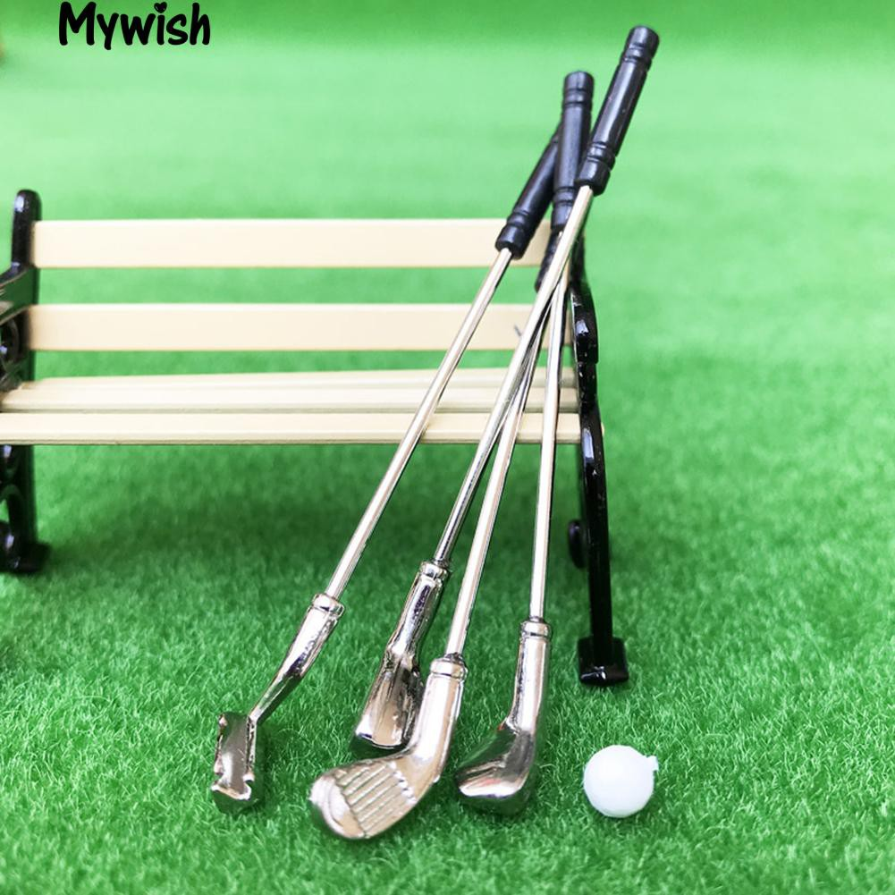 🏆Miniature 1:12 New Toy Golf Clubs Ball Outdoor Scene Play Game Accessories