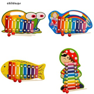 8 Keys Wooden Hand Knock Xylophone Musical Instrument with 2 Mallets Kids Toy
