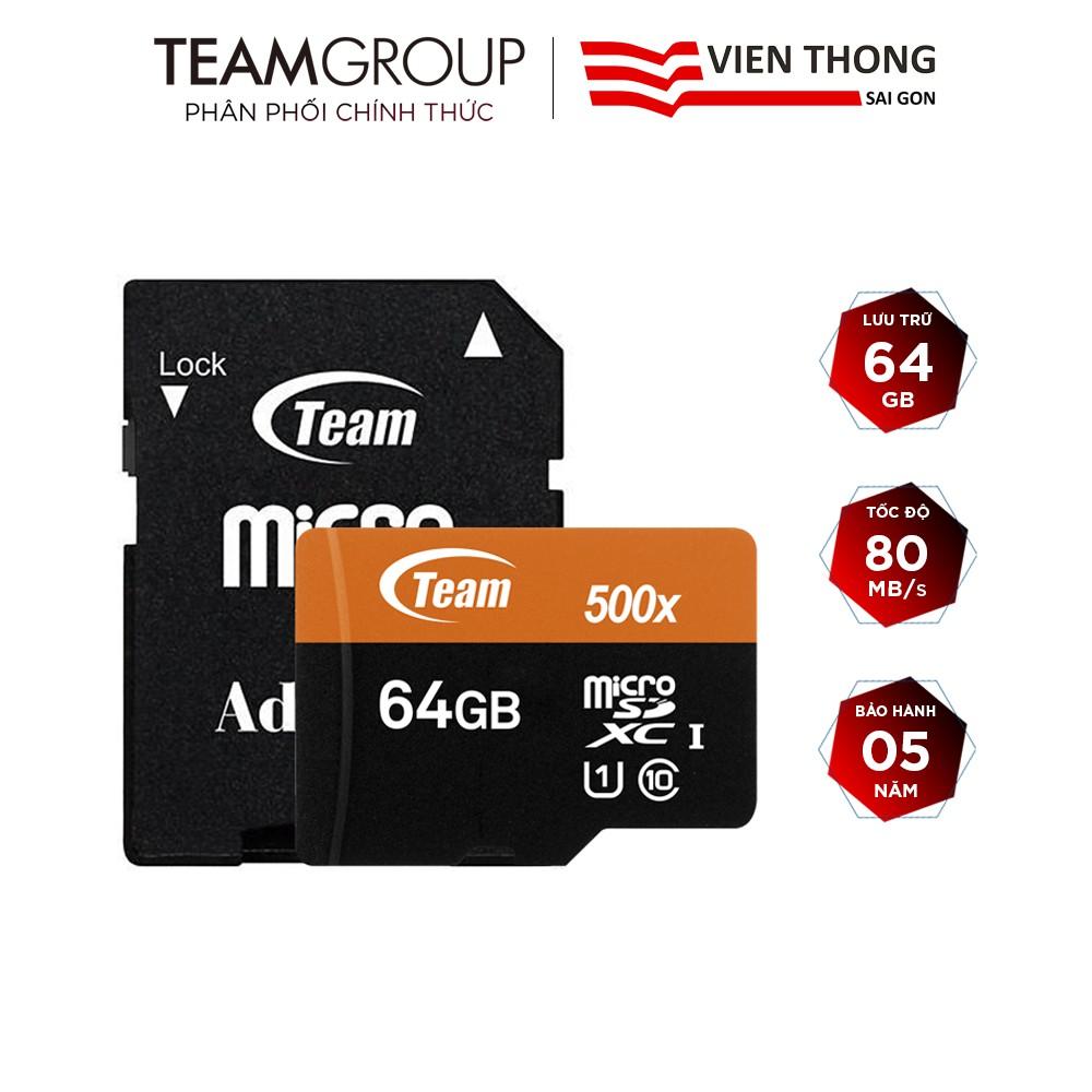 Thẻ nhớ microSDXC Team Group 64GB 500x upto 80MB/s class 10 U1 kèm Adapter (Cam) - Hãng phân phối chính thức