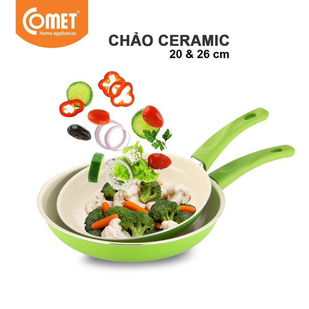 Combo 2 chảo chống dính Ceramic 20cm & 26cm COMET CH11-20 & CH11-26